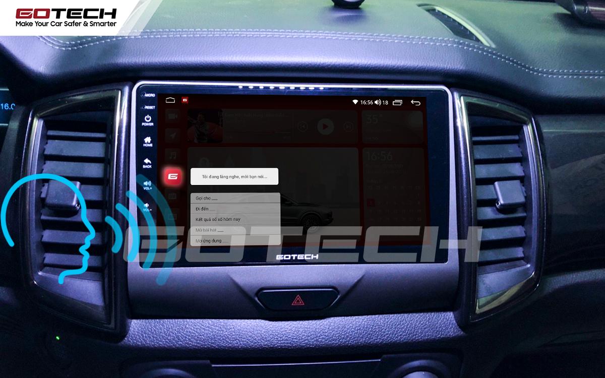 Điều khiển giọng nói qua vô lăng trên màn hình ô tô GOTECH cho xe Ford Everest 2019-2020
