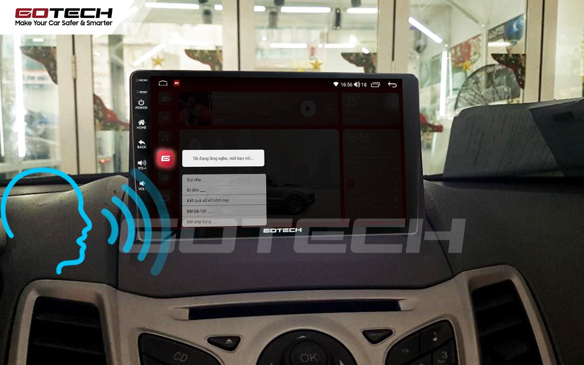 Điều khiển giọng nói qua vô lăng trên màn hình ô tô GOTECH cho xe Ford Fiesta 2011-2018