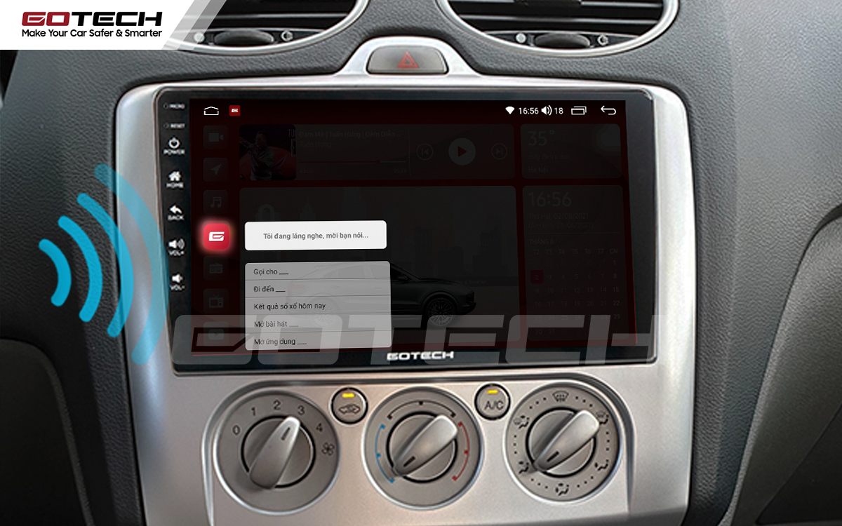 Điều khiển giọng nói qua vô lăng trên màn hình ô tô GOTECH cho xe Ford Focus 2005-2012