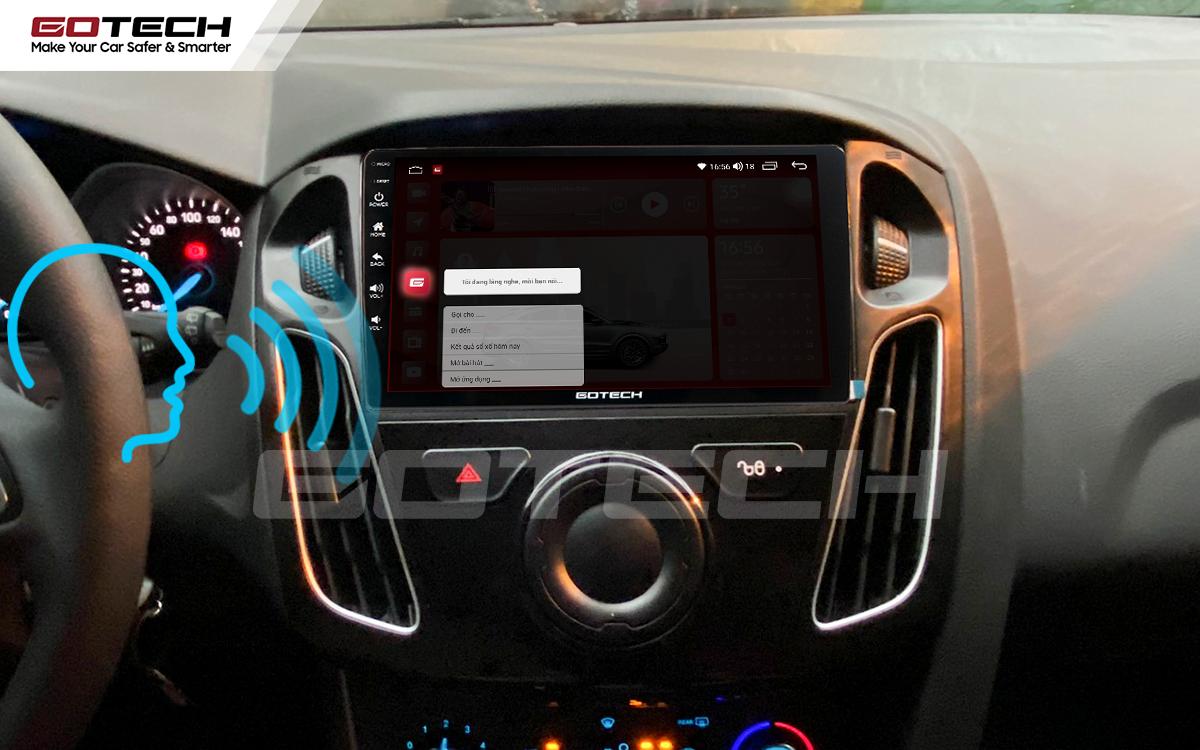 Điều khiển giọng nói qua vô lăng trên màn hình ô tô GOTECH cho xe Ford Focus 2014-2018