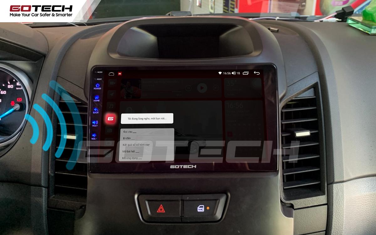 Điều khiển giọng nói qua vô lăng trên màn hình ô tô GOTECH cho xe Ford Ranger 2013-2018