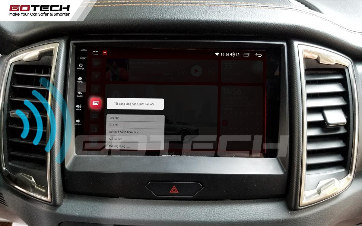 Điều khiển giọng nói qua vô lăng trên màn hình ô tô GOTECH cho xe Ford Ranger Wildtrak