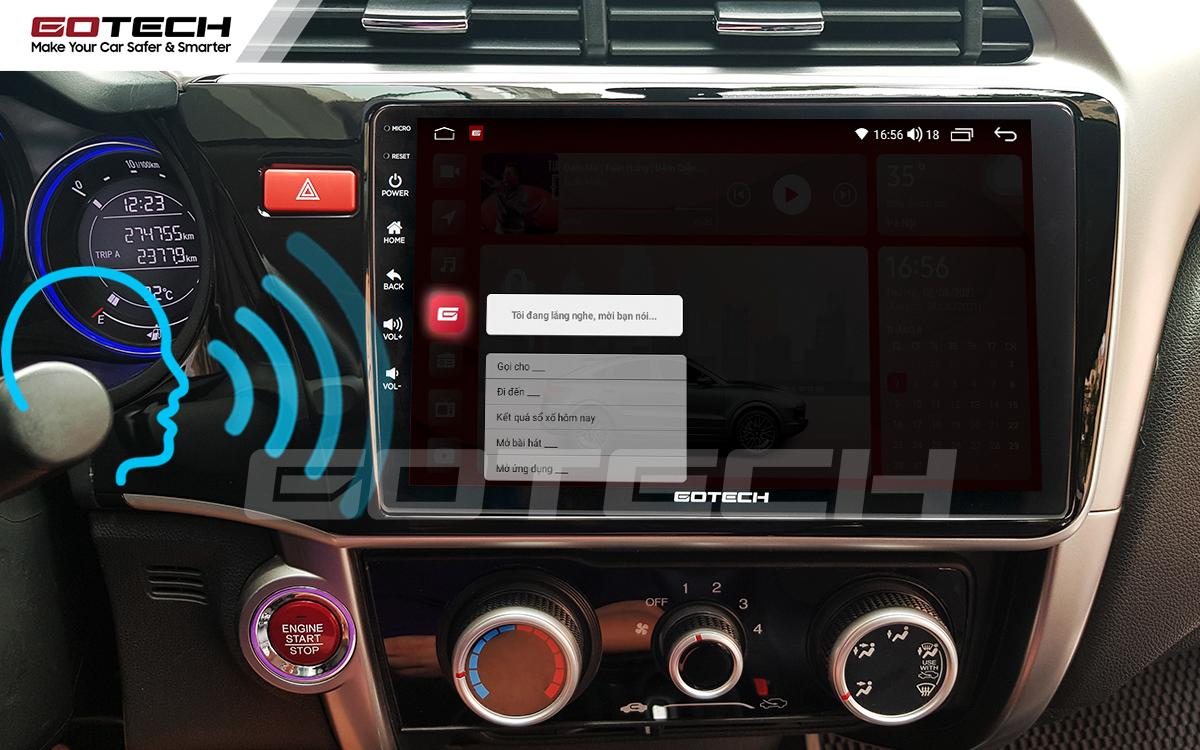 Điều khiển giọng nói qua vô lăng trên màn hình ô tô GOTECH cho xe Honda City 2014-2020