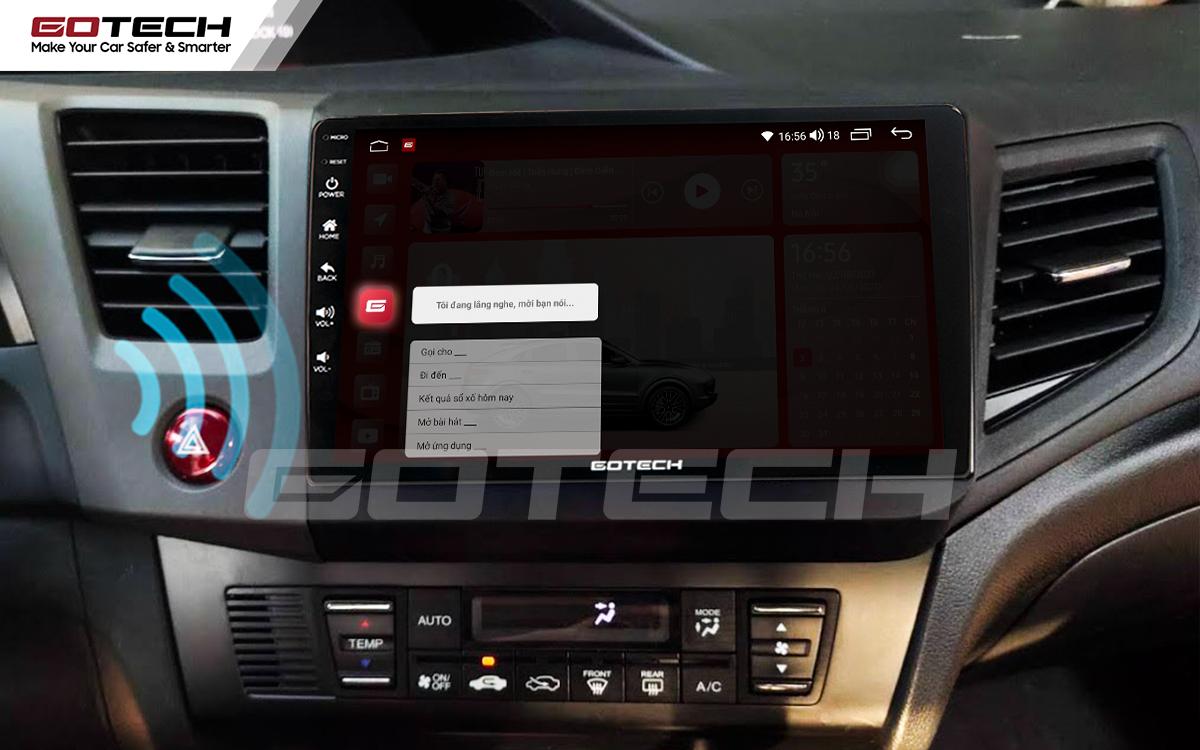 Điều khiển giọng nói qua vô lăng trên màn hình ô tô GOTECH cho xe Honda Civic 2013-2015