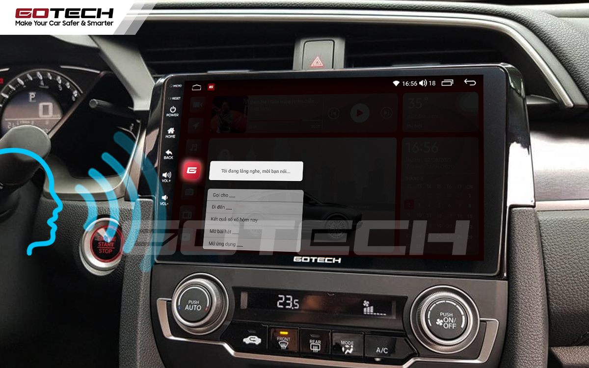 Điều khiển giọng nói qua vô lăng trên màn hình ô tô GOTECH cho xe Honda Civic 2018-2019