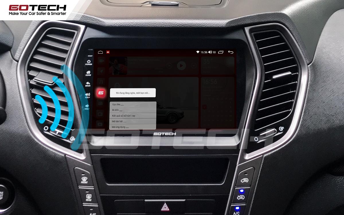 Điều khiển giọng nói qua vô lăng trên màn hình ô tô GOTECH cho xe Hyundai Santafe 2015-2018