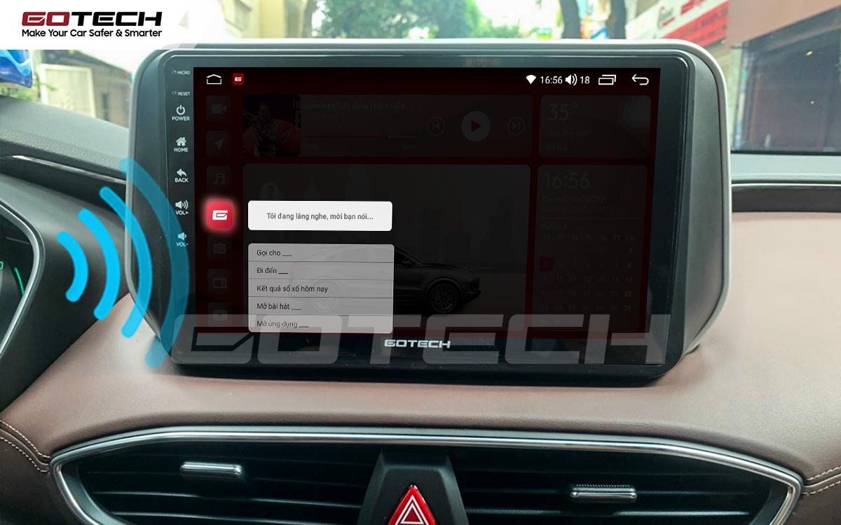 Điều khiển giọng nói qua vô lăng trên màn hình ô tô GOTECH cho xe Hyundai Santafe 2019-2020