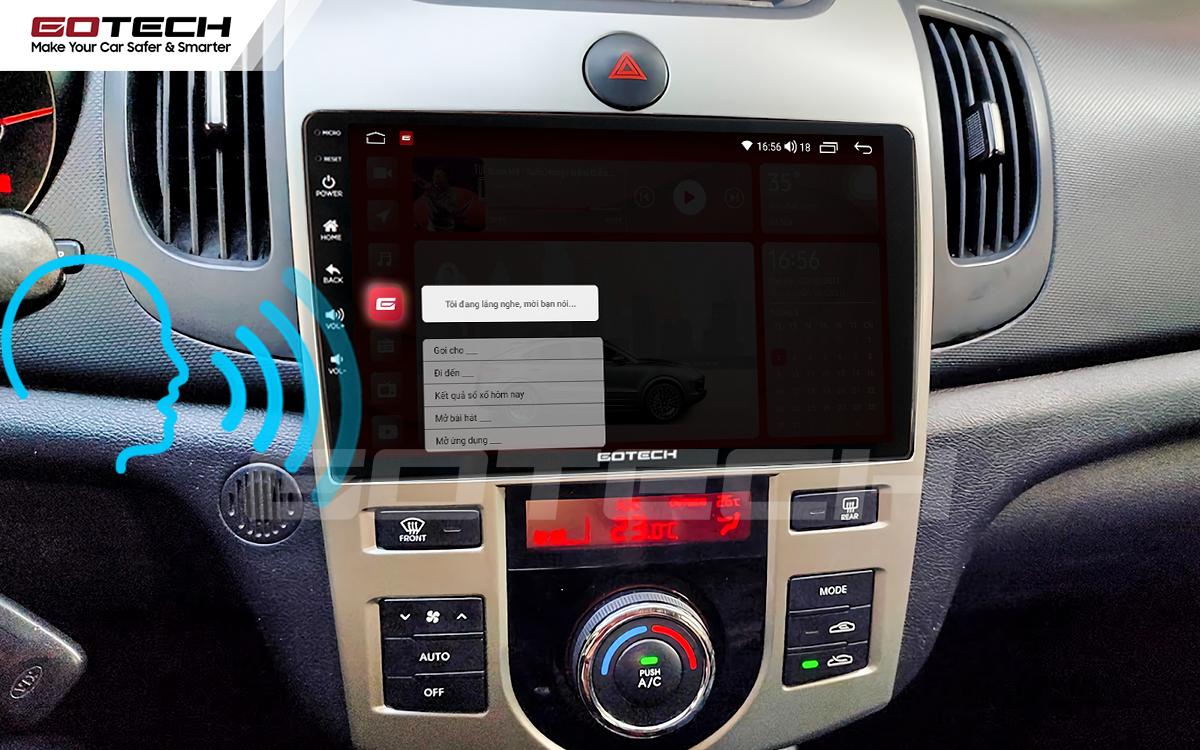 Điều khiển giọng nói qua vô lăng trên màn hình ô tô GOTECH cho xe Kia Forte 2008-2013