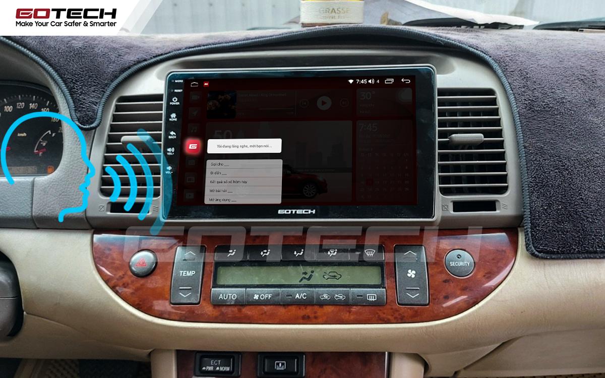 Điều khiển giọng nói qua vô lăng trên màn hình ô tô GOTECH cho xe Toyota Camry 2003-2006