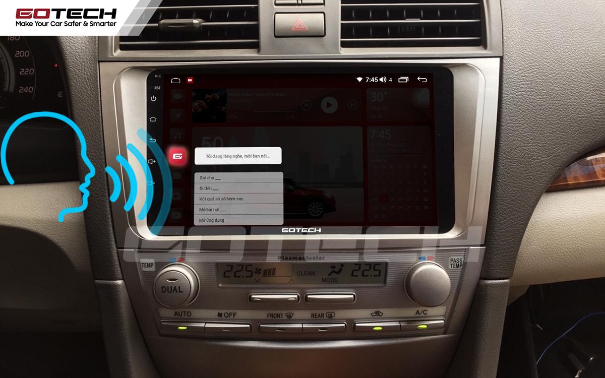 Điều khiển giọng nói qua vô lăng trên màn hình ô tô GOTECH cho xe Toyota Camry 2007-2012