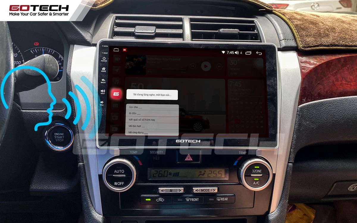Điều khiển giọng nói qua vô lăng trên màn hình ô tô GOTECH cho xe Toyota Camry 2013-2014