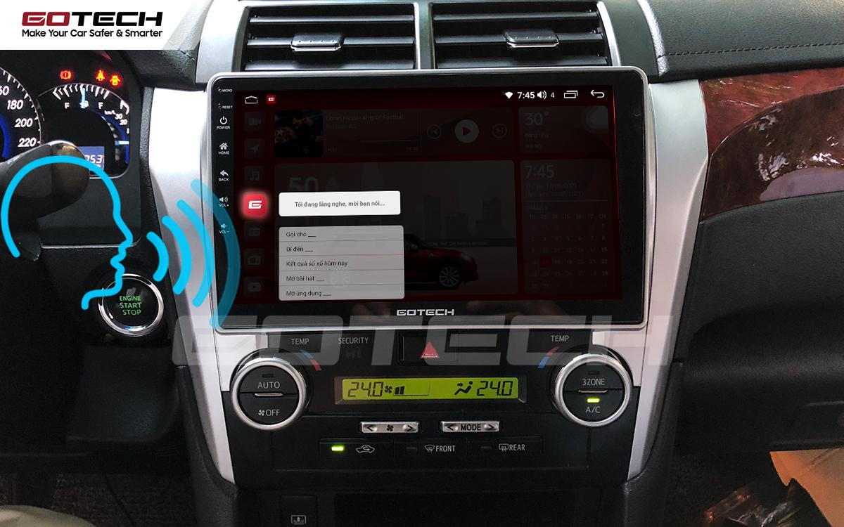 Điều khiển giọng nói qua vô lăng trên màn hình ô tô GOTECH cho xe Toyota Camry 2015-2018