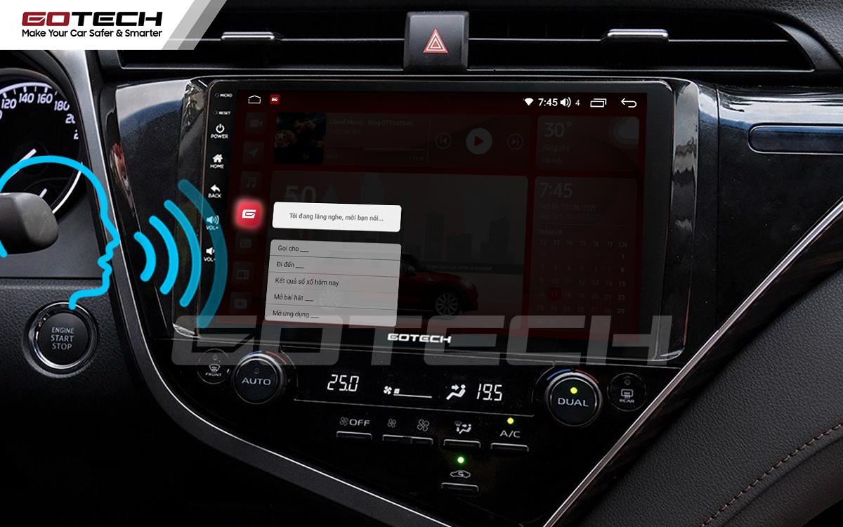 Điều khiển giọng nói qua vô lăng trên màn hình ô tô GOTECH cho xe Toyota Camry 2019-2020