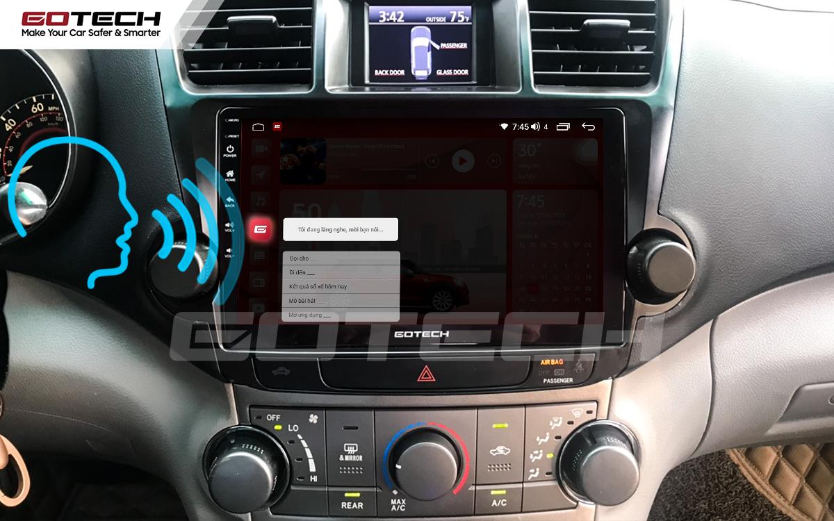 Điều khiển giọng nói qua vô lăng trên màn hình ô tô GOTECH cho xe Toyota Highlander 2009-2013