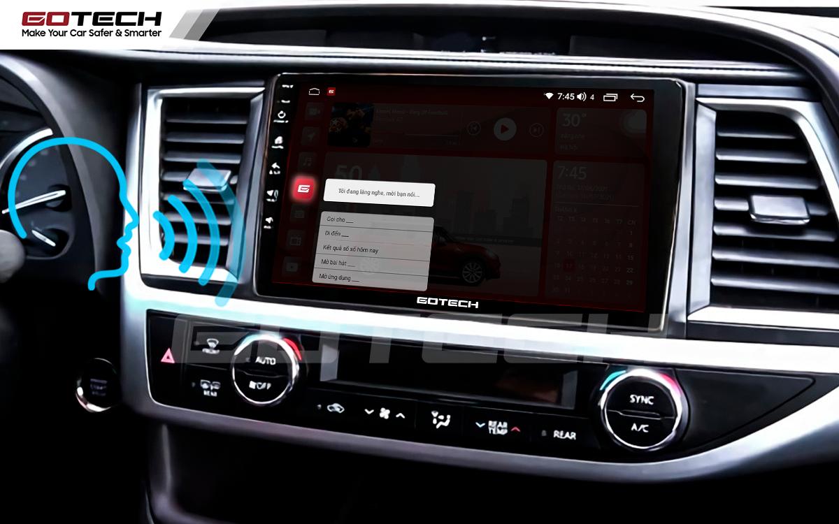 Điều khiển giọng nói qua vô lăng trên màn hình ô tô GOTECH cho xe Toyota Highlander 2015-2018