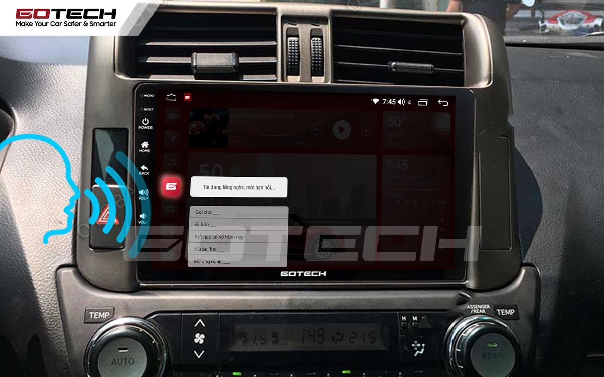 Điều khiển giọng nói qua vô lăng trên màn hình ô tô GOTECH cho xe Toyota Prado 2010-2013