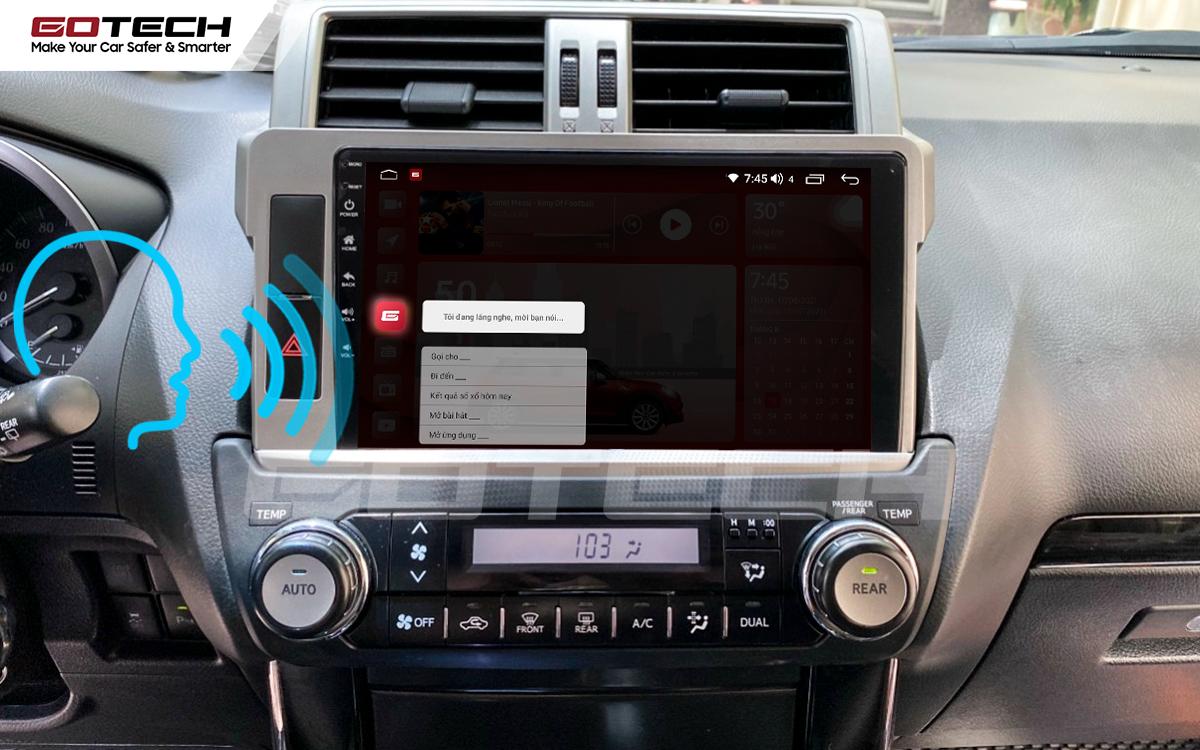 Điều khiển giọng nói qua vô lăng trên màn hình ô tô GOTECH cho xe Toyota Prado 2014-2016