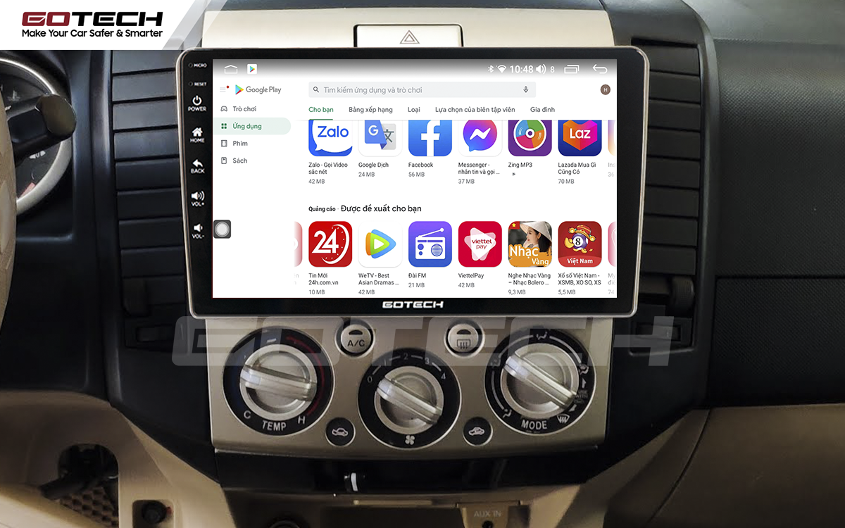 Giải trí đa phương tiện trên màn hình ô tô thông minh GOTECH cho xe Ford Everest 2009-2015