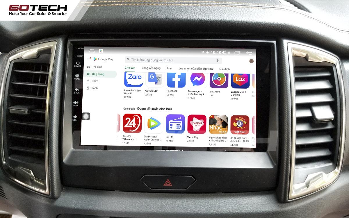 Giải trí đa phương tiện trên màn hình ô tô thông minh GOTECH cho xe Ford Ranger Wildtrak