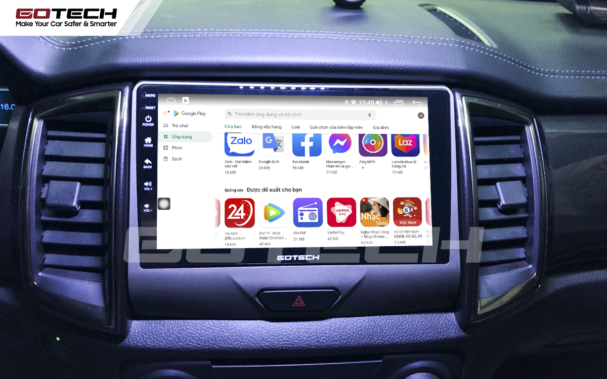 Giải trí đa phương tiện trên màn hình ô tô thông minh GOTECH cho xe Ford Ranger XLS, XLT 2019-2020