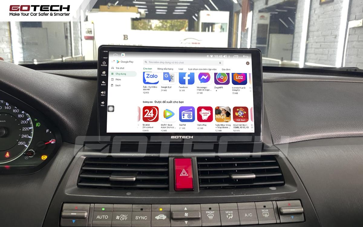 Giải trí đa phương tiện trên màn hình ô tô thông minh GOTECH cho xe Honda Accord 2007-2013