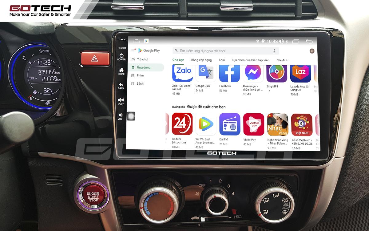 Giải trí đa phương tiện trên màn hình ô tô thông minh GOTECH cho xe Honda City 2014-2020