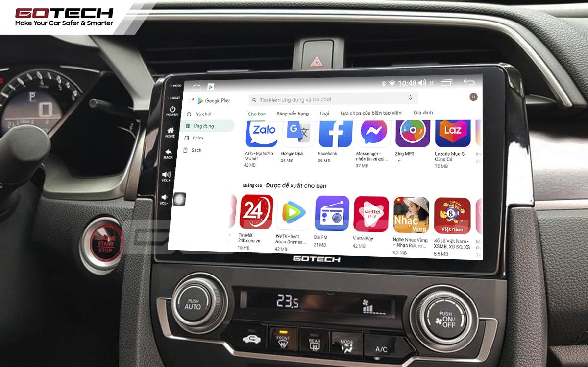Giải trí đa phương tiện trên màn hình ô tô thông minh GOTECH cho xe Honda Civic 2018-2019