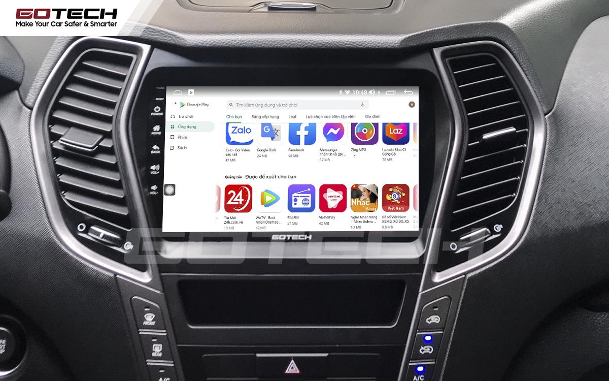 Giải trí đa phương tiện trên màn hình ô tô thông minh GOTECH cho xe Hyundai Santafe 2015-2018