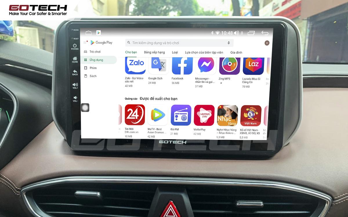 Giải trí đa phương tiện trên màn hình ô tô thông minh GOTECH cho xe Hyundai Santafe 2019-2020