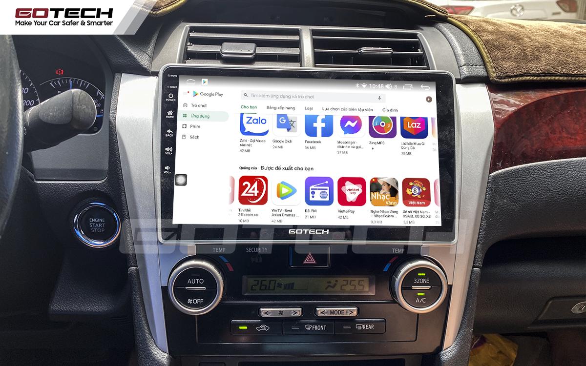 Giải trí đa phương tiện trên màn hình ô tô thông minh GOTECH cho xe Toyota Camry 2013-2014