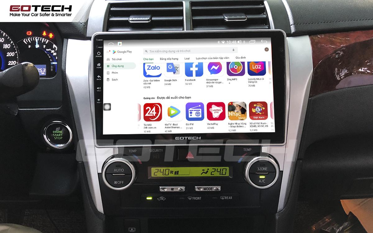 Giải trí đa phương tiện trên màn hình ô tô thông minh GOTECH cho xe Toyota Camry 2015-2018