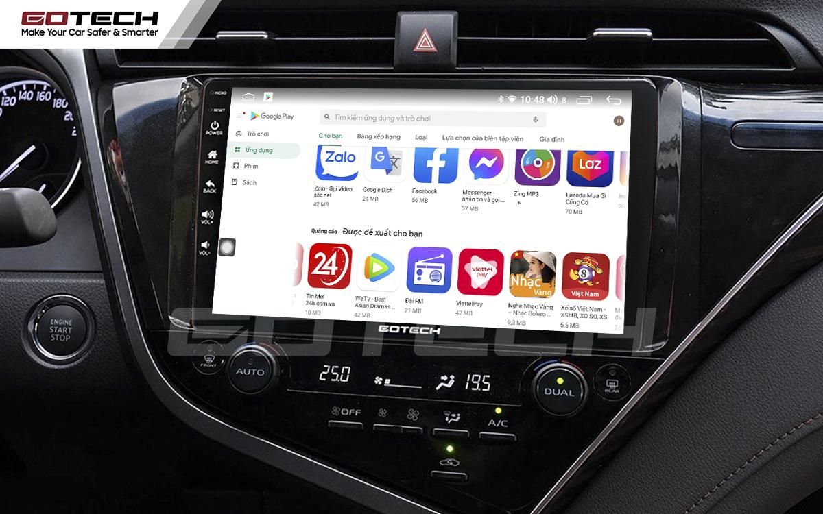 Giải trí đa phương tiện trên màn hình ô tô thông minh GOTECH cho xe Toyota Camry 2019-2020