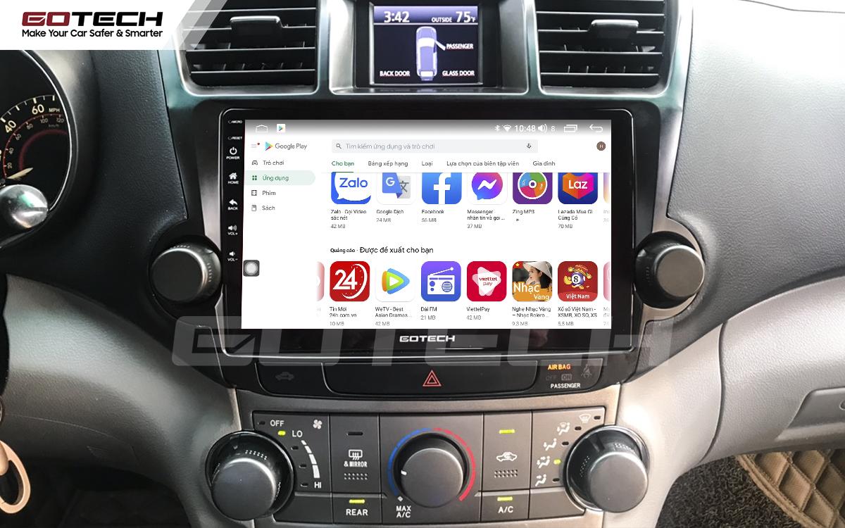 Giải trí đa phương tiện trên màn hình ô tô thông minh GOTECH cho xe Toyota Highlander 2009-2013