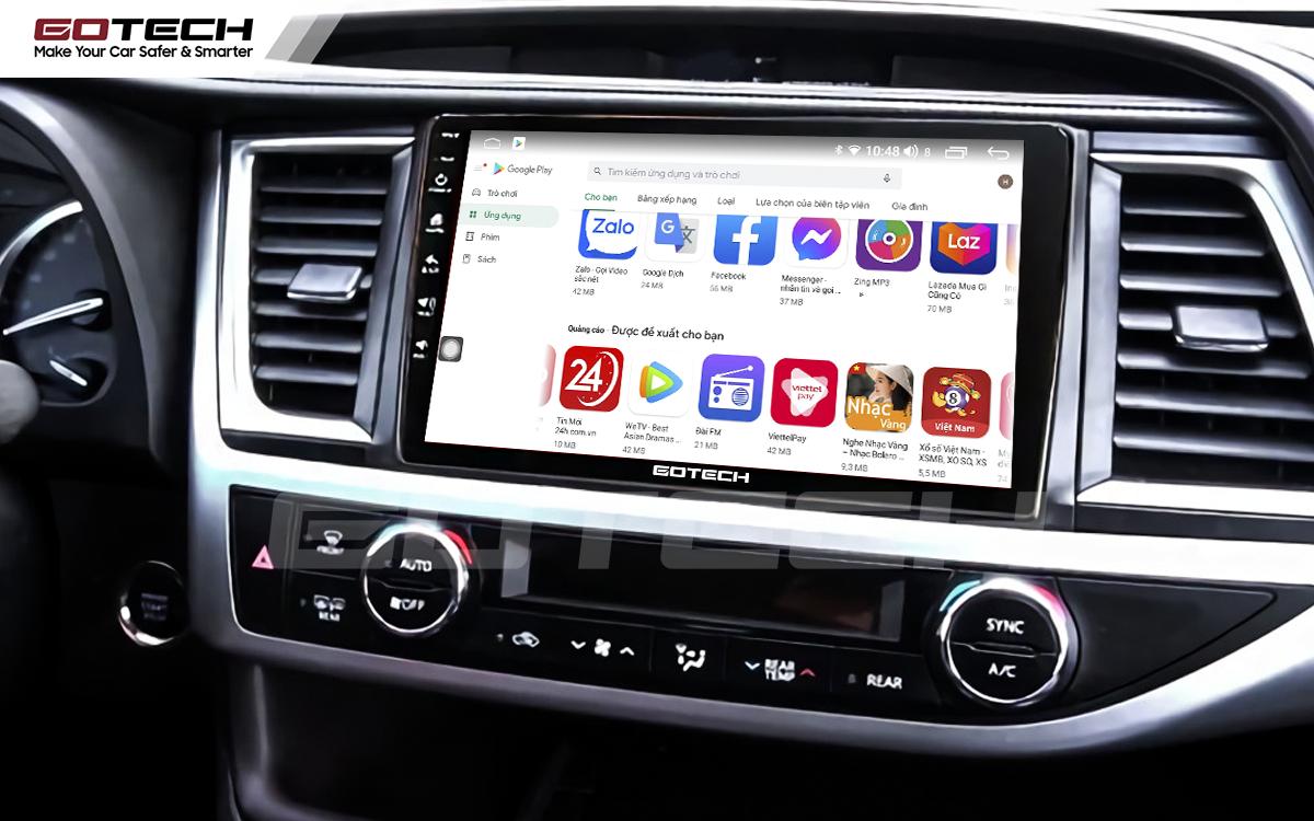 Giải trí đa phương tiện trên màn hình ô tô thông minh GOTECH cho xe Toyota Highlander 2015-2018