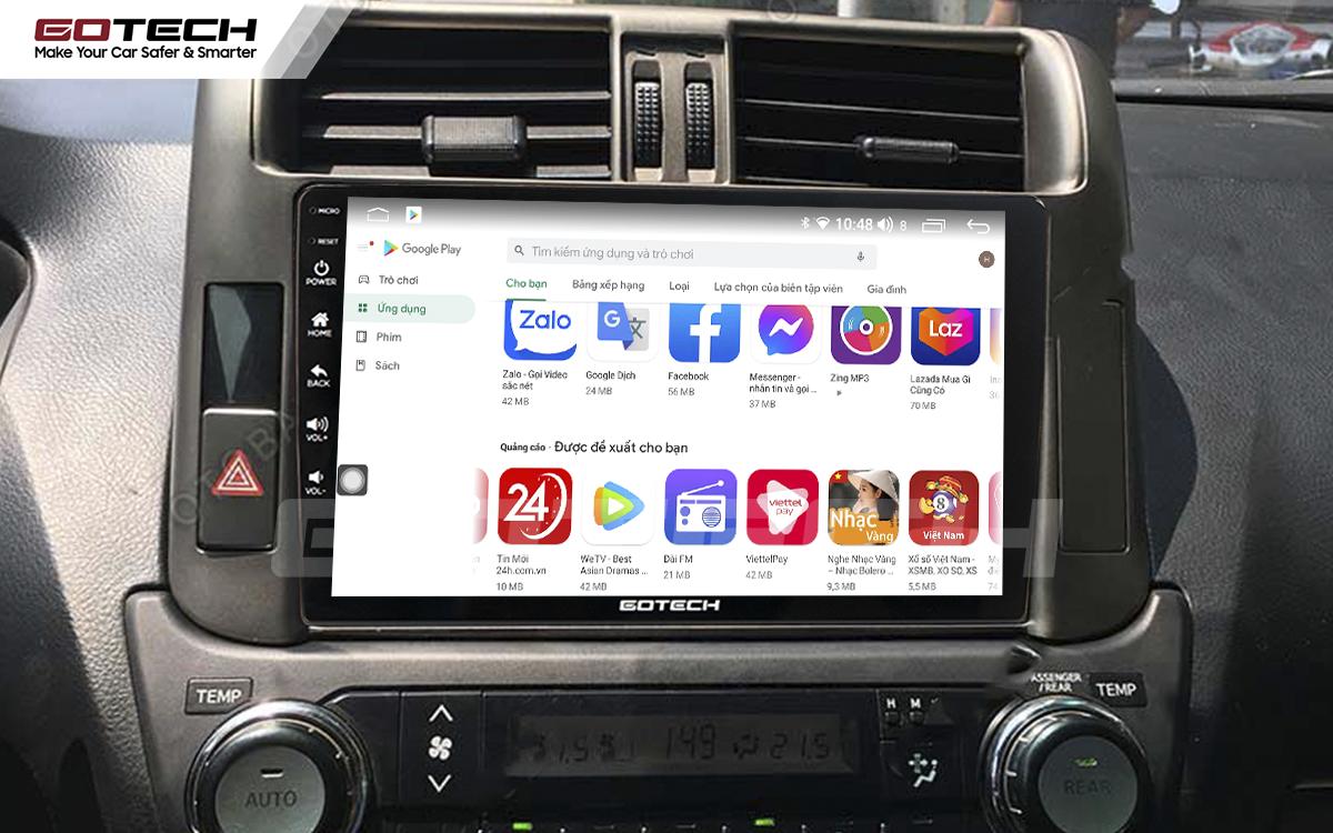 Giải trí đa phương tiện trên màn hình ô tô thông minh GOTECH cho xe Toyota Prado 2010-2013