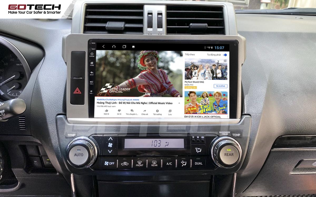 Giải trí đa phương tiện trên màn hình ô tô thông minh GOTECH cho xe Toyota Prado 2014-2016
