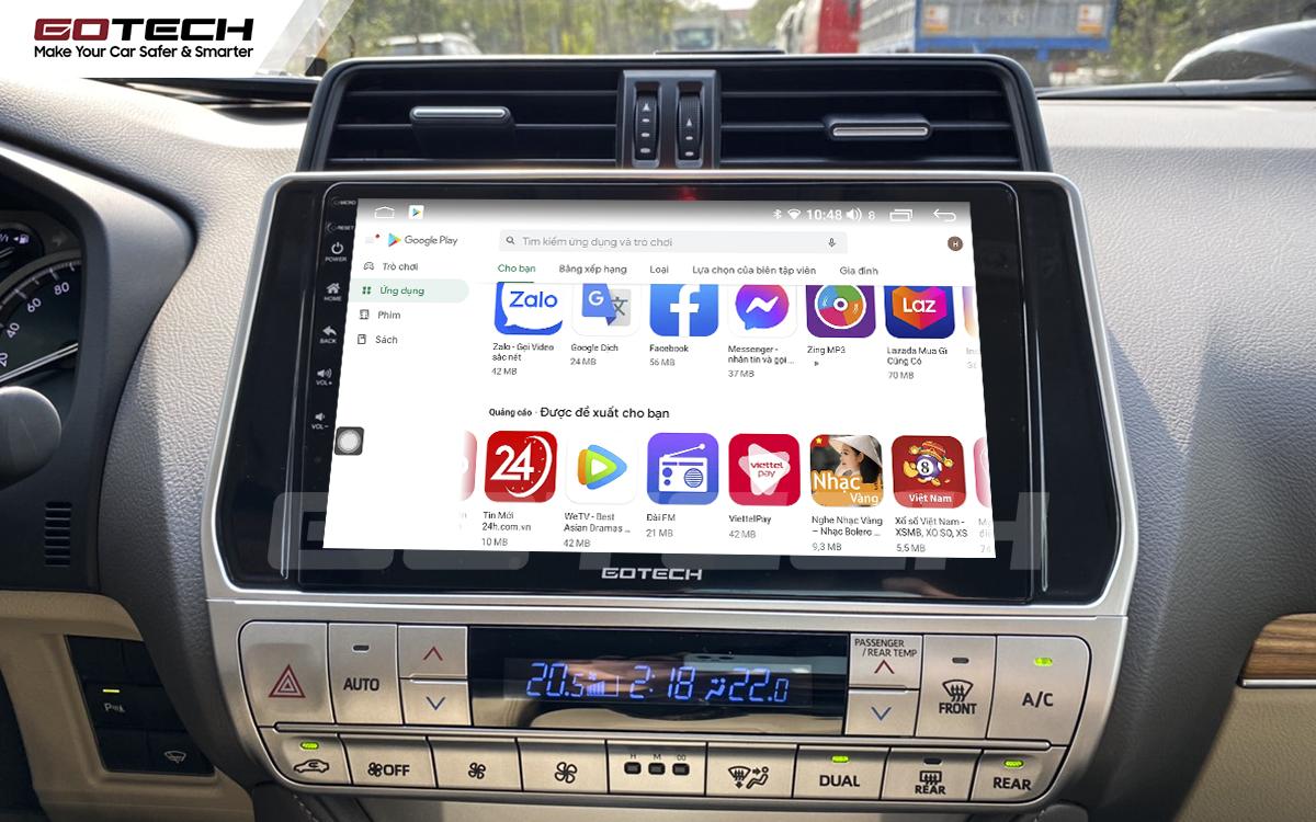 Giải trí đa phương tiện trên màn hình ô tô thông minh GOTECH cho xe Toyota Prado 2017-2020
