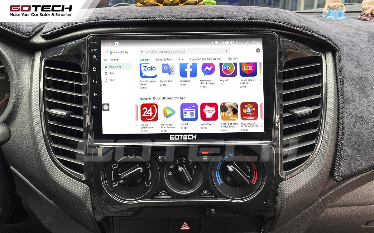 Giải trí đa phương tiện trên màn hình DVD Android GOTECH cho xe Mitsubishi Triton 2015-2018.