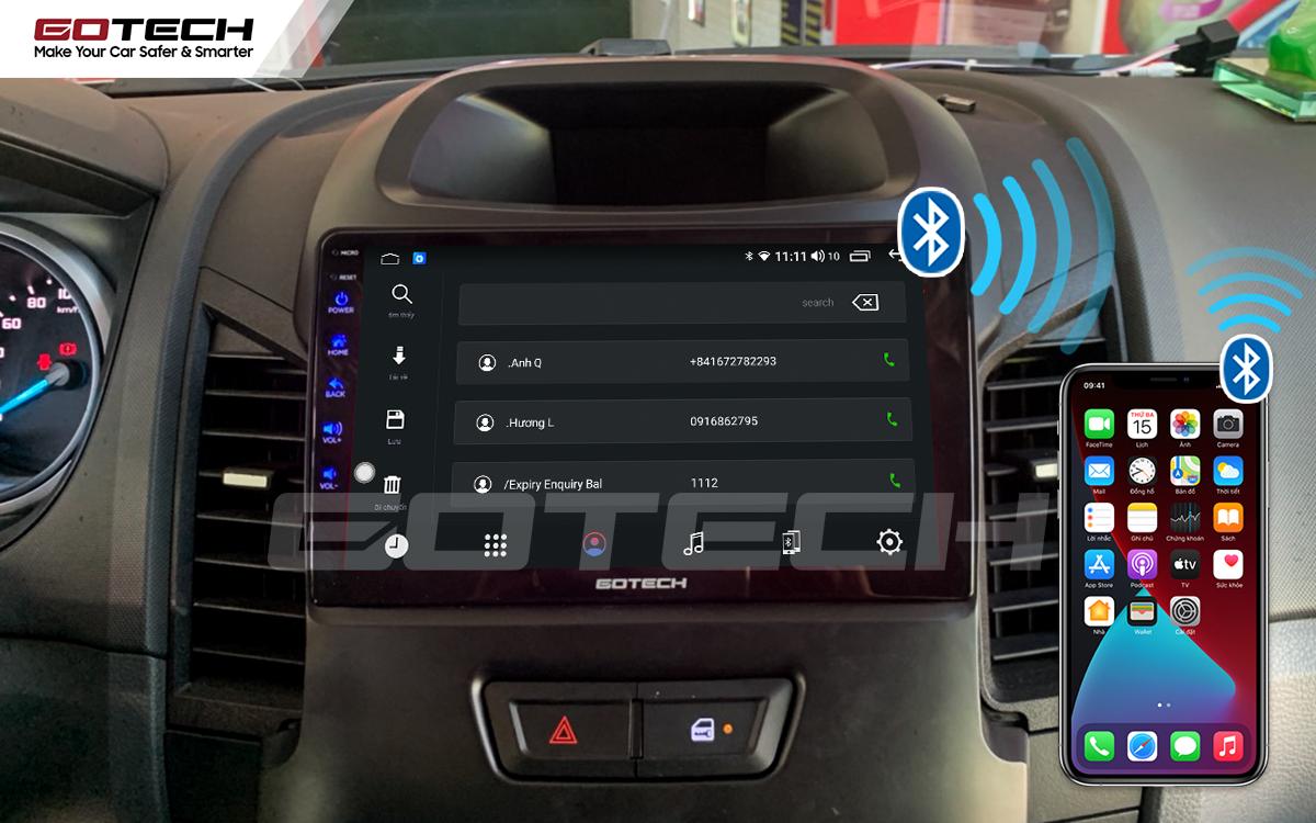 Kết nối Apple Carplay thông minh trên màn hình ô tô thông minh GOTECH cho xe Ford Ranger 2013-2018