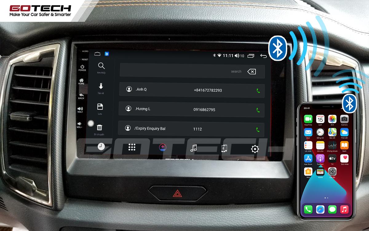 Kết nối Apple Carplay thông minh trên màn hình ô tô thông minh GOTECH cho xe Ford Ranger Wildtrak