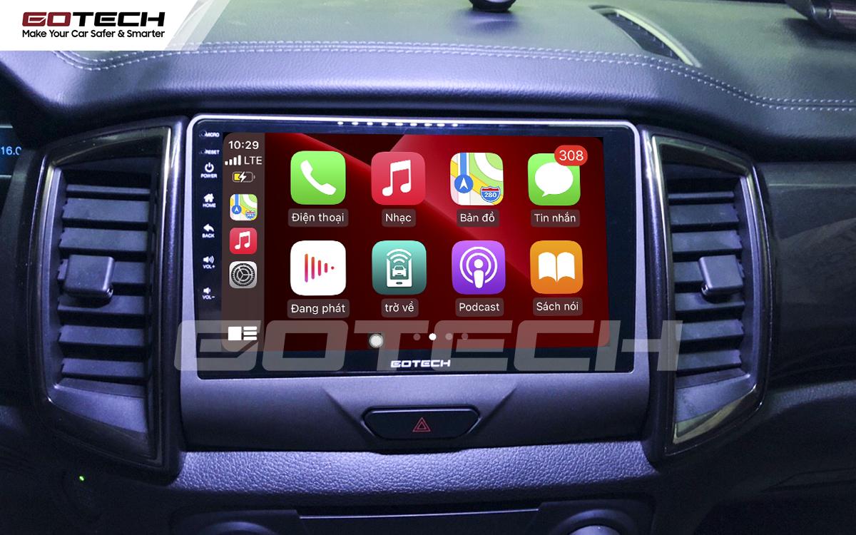 Kết nối Apple Carplay thông minh trên màn hình ô tô thông minh GOTECH cho xe Ford Ranger XLS, XLT 2019-2020