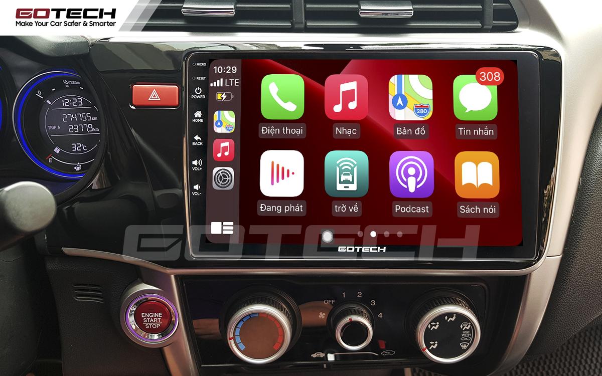 Kết nối Apple Carplay thông minh trên màn hình ô tô thông minh GOTECH cho xe Honda City 2014-2020