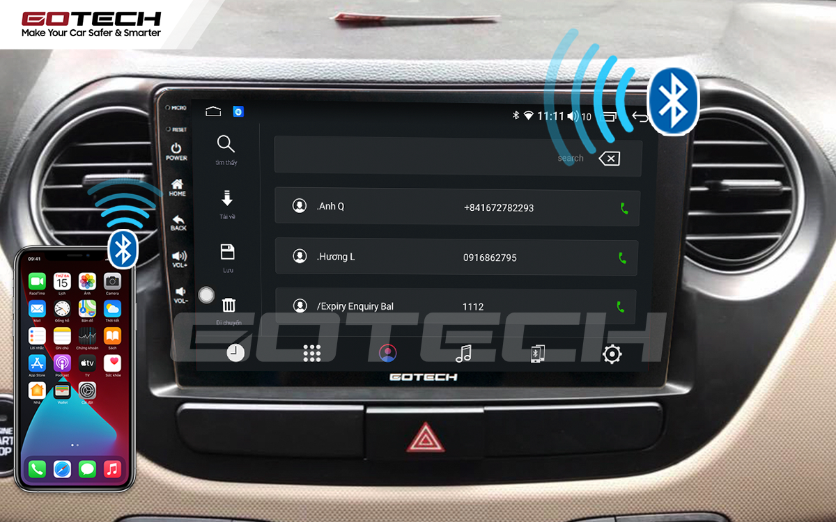 Kết nối Apple Carplay thông minh trên màn hình ô tô thông minh GOTECH cho xe Hyundai i10 2014-2019