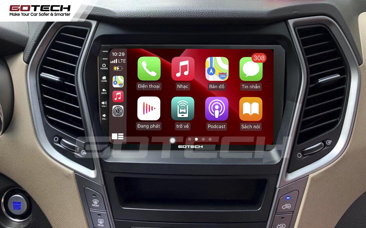 Kết nối Apple Carplay thông minh trên màn hình ô tô thông minh GOTECH cho xe Hyundai Santafe 2013-2014
