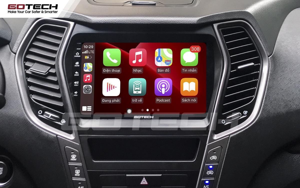 Kết nối Apple Carplay thông minh trên màn hình ô tô thông minh GOTECH cho xe Hyundai Santafe 2015-2018