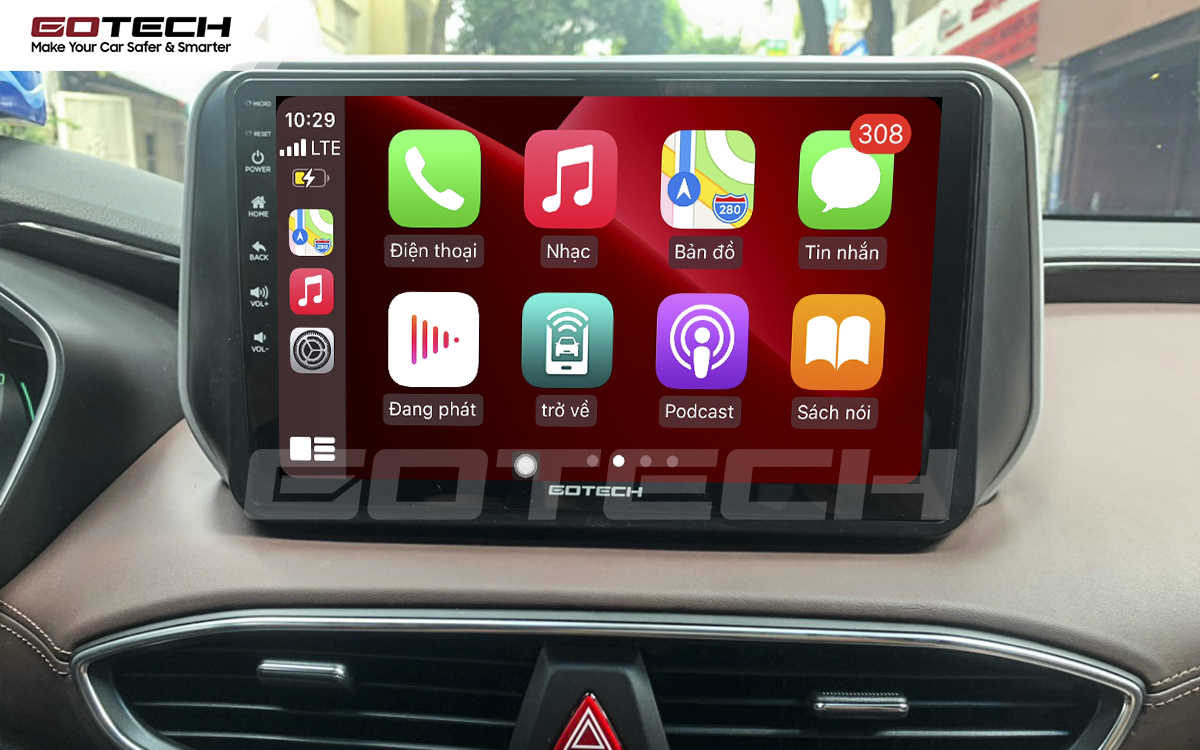 Kết nối Apple Carplay thông minh trên màn hình ô tô thông minh GOTECH cho xe Hyundai Santafe 2019-2020