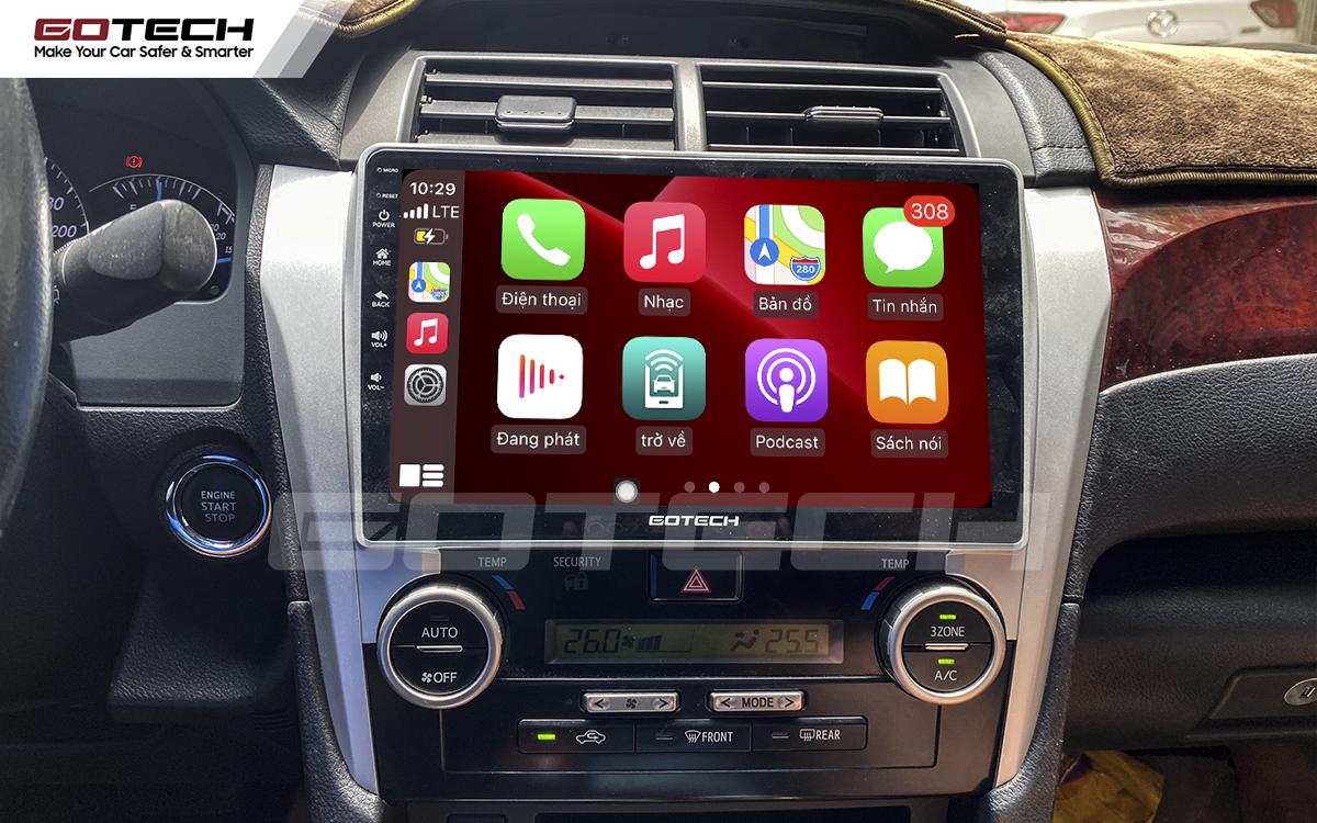 Kết nối Apple Carplay thông minh trên màn hình ô tô thông minh GOTECH cho xe Camry 2013-2014