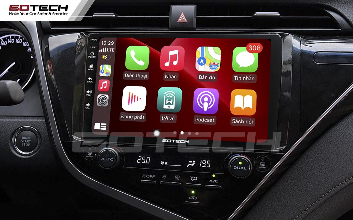 Kết nối Apple Carplay thông minh trên màn hình ô tô thông minh GOTECH cho xe Camry 2019-2020