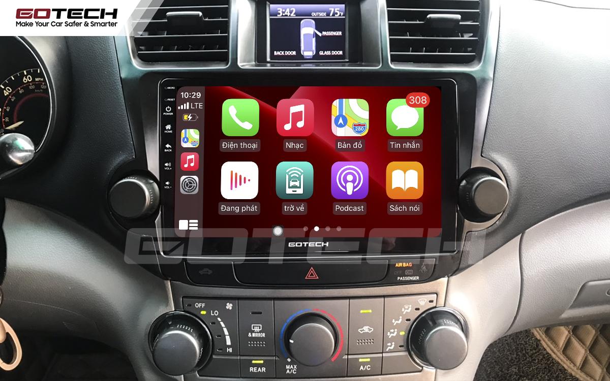 Kết nối Apple Carplay thông minh trên màn hình ô tô thông minh GOTECH cho xe Toyota Highlander 2009-2013