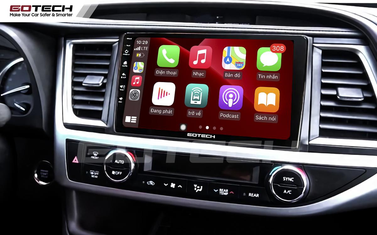 Kết nối Apple Carplay thông minh trên màn hình ô tô thông minh GOTECH cho xe Toyota Highlander 2015-2018